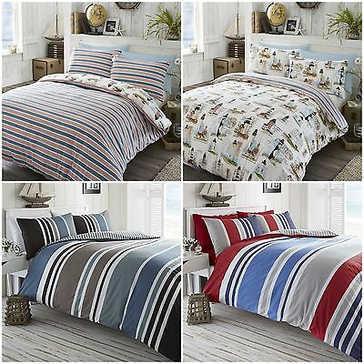 Nautical Theme Striped Reversible Duvet Quilt Cover Bedding Bed Sets - 3 Designs
