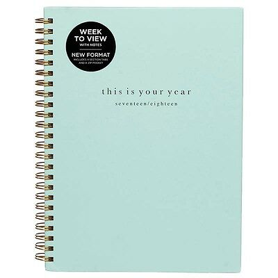WHSmith 2017-18 A5 This Is Your Year Academic Mid Year Diary Green Week To View