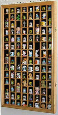 100 Thimble Display Case Cabinet Shadow Box, with glass door, TC100-OA
