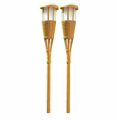Newhouse Lighting Bamboo Solar Tiki Torch Lights Stand Outdoor Pathway (2-Pack)