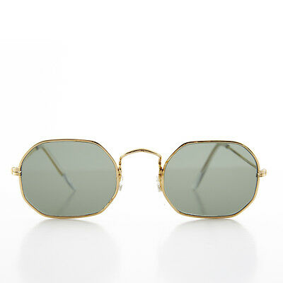 Gold Octagonal Metal Frame Sunglass with Glass Lens - VINE