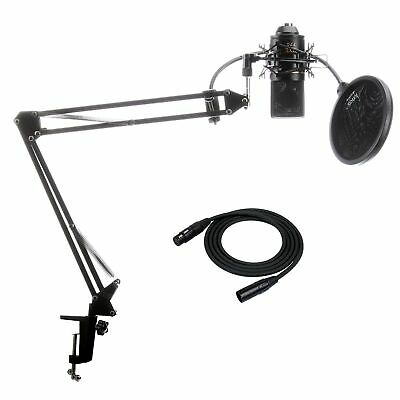 MXL 770 Microphone with Knox Suspension Boom Arm Stand, Cable, Pop Filter Bundle