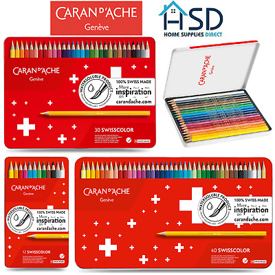 Caran D'Ache Swisscolor Water Soluble Artist Sketching Colour Pencil Metal Set