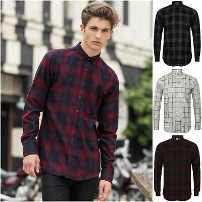 """Mens Check Shirt Slim Fit Brushed Flannel Fitted Long Sleeved Shirt Top 36""""-48"""""""