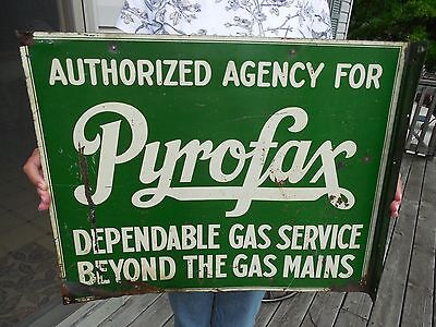 ORIGINAL 1940's - 60's PYROFAX GAS SERVICE SIGN DOUBLE SIDED FLANGE SIGN