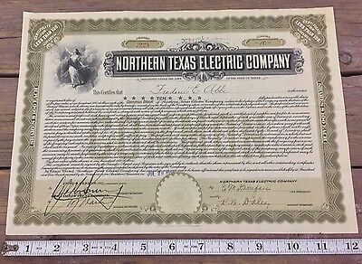 Northern Texas Electric Company Stock Certificate 10 Shares 1929 Maine