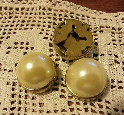 Vintage button covers metal 12mm faux pearl x3