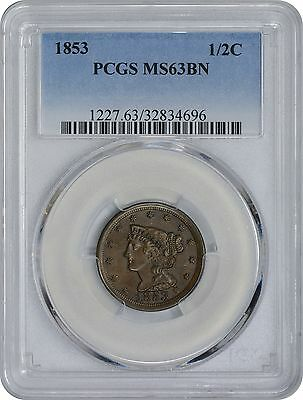 1853 Half Cent MS63BN PCGS Mint State 63 Brown