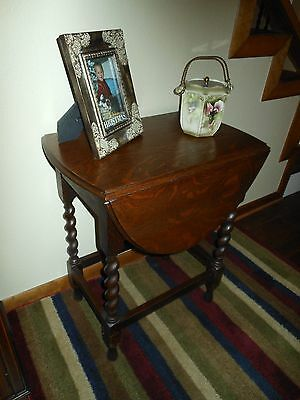 Unique Petite English Oak Double Drop Leaf Tea Card Table Barley Twist Legs