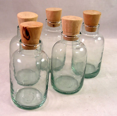 Set of 5 Vintage Glass Bottles with Cork Stoppers Oil Aromatherapy