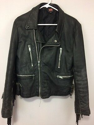 VTG Black Leather Women's Motorcycles Jacket  With Fringe Arms Made In Uk Size40