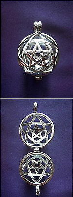 615 Amazing Pentagram Solid 925 Sterling Silver cage pendant rrp$99.95