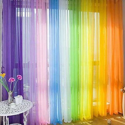 Floral Tulle Voile Door Window Curtain Drape Panel Sheer Scarf Divider Colorful