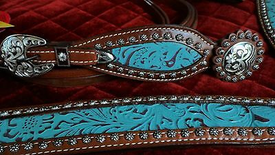Western Horse/rodeo- Turquoise Filigree -Bridle, Reins & Breast Plate Set