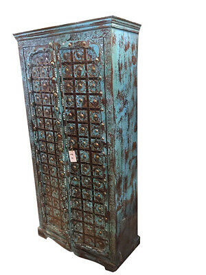 Indian Antique Cabinet Rustic Teak Door Vintage Armoire Spanish Style Furniture
