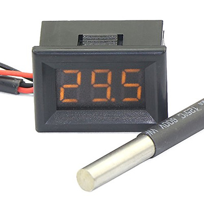 """DEOK 0.36"""" Digital Thermometer Car Outside Temperature Testing Meter Yellow LED"""