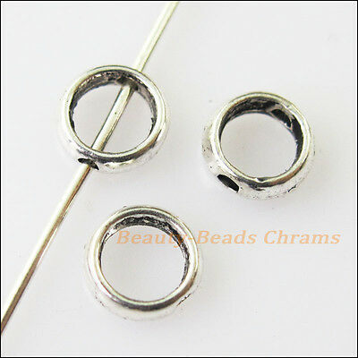 40Pcs Antiqued Silver Tone Tiny Round Spacer Beads Frame Charms 6mm