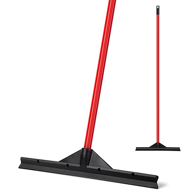 "Heavy Duty Floor Patented Squeegee 46 Cm ""Solid Natural Rubber Blade"" Long Handl"