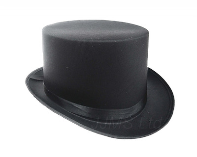 Fantastic Black Top Hat Great Quality Hard Satin Look Hat approx 59cm