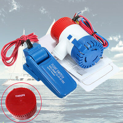 12V 1100 GPH 20Amp Submersible Marine Yacht Boat Bilge Water Pump w/Float Switch