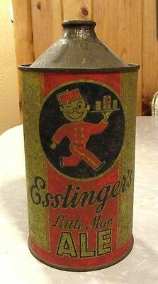 Vintage 1940's Esslinger's Little Man Ale Quart Cone Flat Top Beer Can