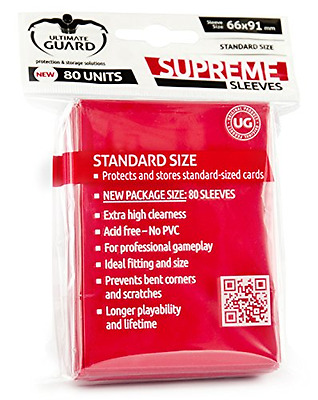 Ultimate Guard Supreme Sleeves Standard Size (Pack of 80, Red)
