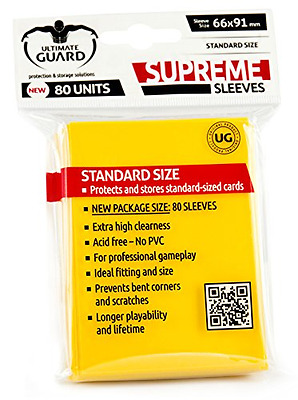 Ultimate Guard Supreme Sleeves Standard Size (Pack of 80, Solid Yellow)