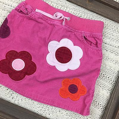 Mini Boden, Size 7-8 Years Corduroy Skirt Floral Pink Kids Girls EUC - D18