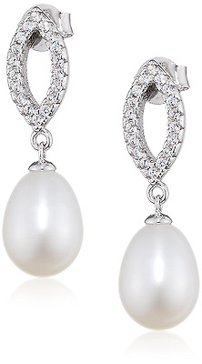 Elements Silver E3860W Ladies' Marquise Pearl Drop Sterling Silver Earrings