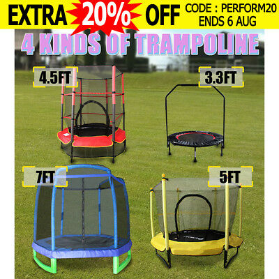 Lazar Fitness Mini Trampoline 3.3FT 4.5FT 5FT 7FT Safety Net Handrail Cardio AU