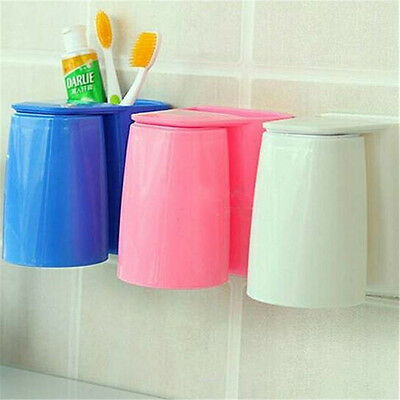 1Pcs Wall Mount Stand Tooth Mug Magnetic Suit Toothbrush Holder  Wash Cup Gargle
