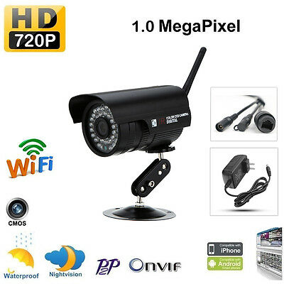 HD 720P 1.0MP Wireless WiFi IP Camera Outdoor Security Network P2P Night Vision