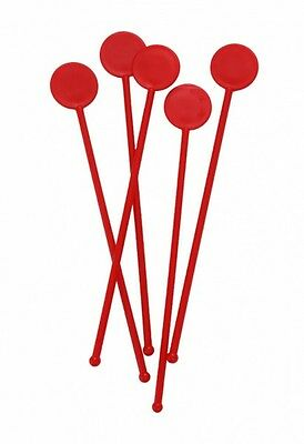 "7"" Red Disc Cocktail Stirrers Swizzle Mixer Sticks Pack Of 100"