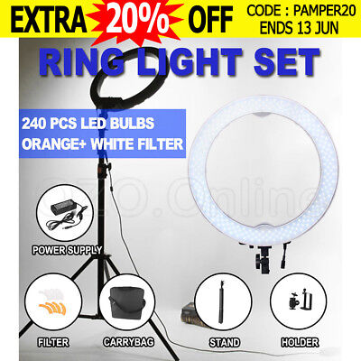 "19"" /48.5CM Dimmable Diva 240pcs LED Adjustable Ring Light with Diffuser, Stand"