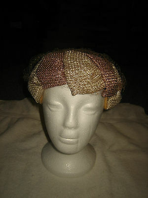 Vintage Women's  Hat With Mesh Veil Union Made~Made In Usa~
