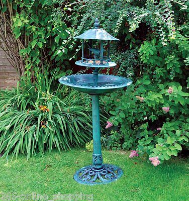 New Green Bird Hotel Feeder & Bath Garden Ornamental Bird Table Feeding Station