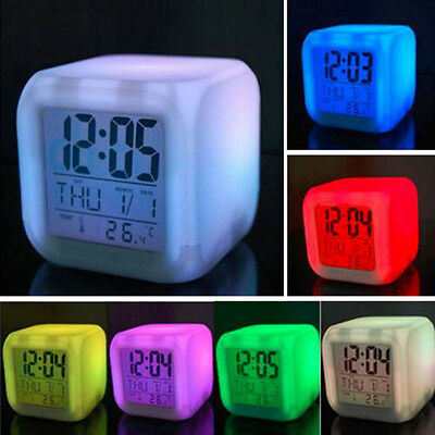 7 Color LED Change Digital Glowing Alarm Clock Home Bedroom Kids Gift SJ