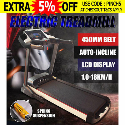 3.5HP Electric Treadmill Exercise Equipment Machine Fitness Home Gym 450mm Belt