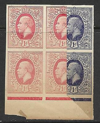1912 1d International Stamp Exhibition Cinderella Proof printed both sides MNH