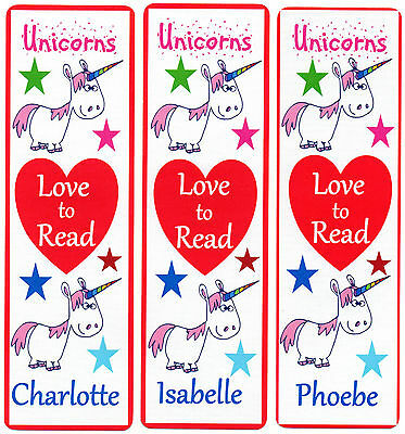 3 CHILDRENS PERSONALISED BOOKMARKS,UNICORNS LOVE TO READ.18cm x5cm laminated