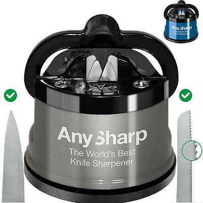 AnySharp World's Best Kitchen Knife Sharpener Std & PRO Metal With Suction Base