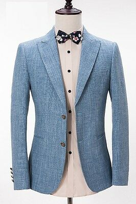 New Men Suits Light Blue Slim Fit Groom Formal Wedding Suits Tuxedos Custom Made