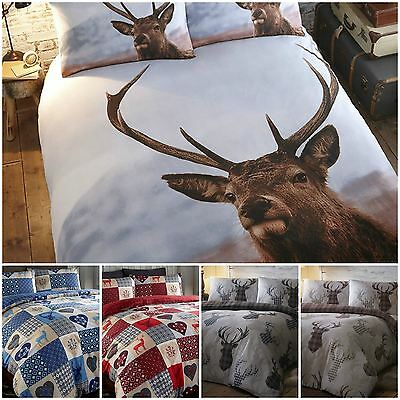 Animal Theme Deer Stag Heads Duvet Quilt Cover Bedding Bed Sets - 5 x Designs