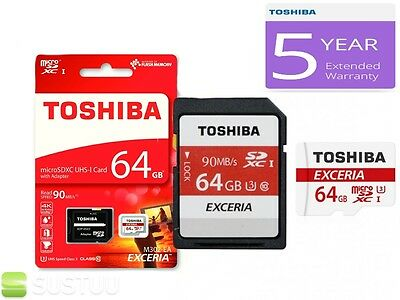 Toshiba Exceria 64GB M302 Micro SDHC/XC 90mbps Class 10 Memory Card & SD Adaptor