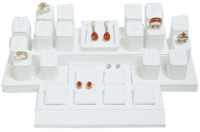 New MM SET-102W Showcase Collection White Faux Leather Jewelry Display