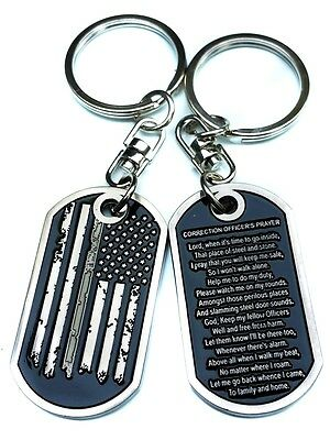Thin Silver Line Distress American Flag Correction Officer Prayer Tag Key Chain