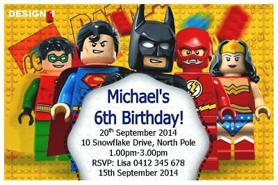 20 X LEGO BOYS BIRTHDAY PARTY PERSONALISED INVITATIONS FREE MAGNETS