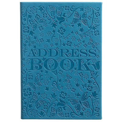 WHSmith Teal PU Deboss Butterfly Pattern A5 Address Book 26 Tabbed Sections