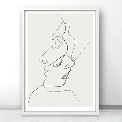 One Line Drawing Face Sketches Kiss Minimalism Art Canvas Poster Abstract Print