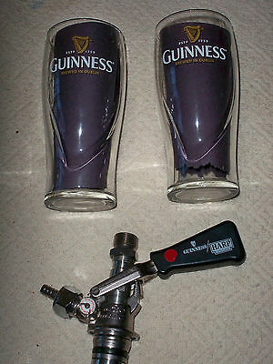New Micro Matic U Tpe Guiness - Harp Beer Tap Keg Fitting w/ 2 guinness glasses